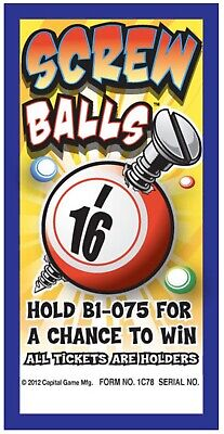 """4 Pack """"Screw Balls"""" Pull Tab Ticket $25 Profit 75 Count $50 Payout"""