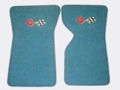Corvette Mat Set-Floor-80-20 Loop-With Embroidered Cross Flags Logo-Colors-Pair-