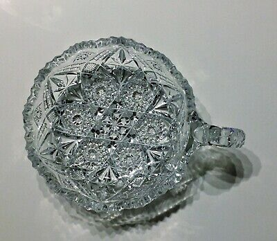 rare VTG/Antique DEEP CUT CRYSTAL CLEAR SCALLOPED EDGE CANDY DISH BOWL W/HANDLE