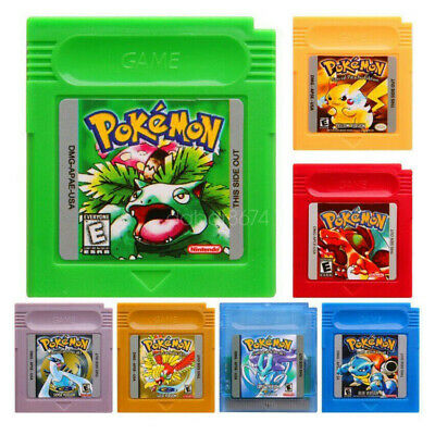 7Pcs GBC Pokemon Game Card Carts GameBoy For Color Version Cartridge