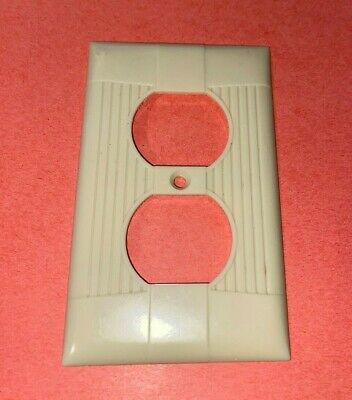 Vintage Ribbed Ivory Duplex receptacle Wall Plate Cover Bakelite