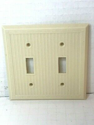 Vintage Ivory Ribbed Bakelite Double Toggle Switch Wall Plate