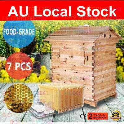 Wooden Beekeeping Beehive House + 7PCS Upgraded Auto Run Bee Comb Hive Frames