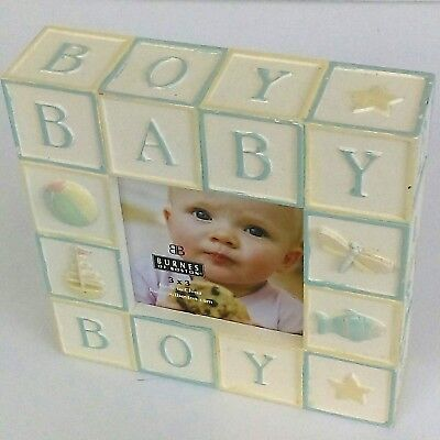 Baby Boy Picture Frame Building Blocks Appearance Nursery Decor