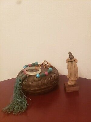 Antique Chinese Statue & Sewing Basket