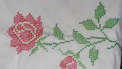 "Vintage White Cross Stitch Red Roses Flowers Tablecloth  57"" x 79"""