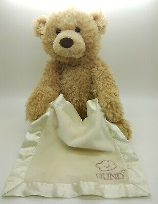 "Animated Peek A Boo Talking Teddy Bear Plush Toy 11.5"" Baby Gund Collection"