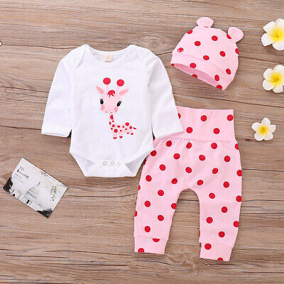 3Pcs Newborn Baby Boy Girl Christmas Tops Romper Pants Hat Outfits Set Clothes