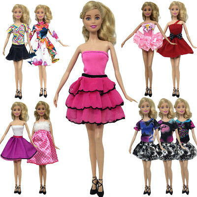 8Pcs Lovely Random Dresses For Barbie Doll Casual Daily Wear Outfit Gown Clothes