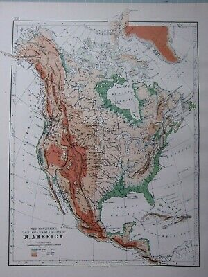 1895 Victorian Map North America United States Mexico Canada Mountains Plains