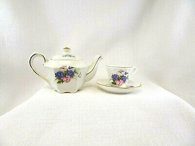 Vintage Sadler England Fine China July Birthstone Miniature T.Pot & Cup & Saucer