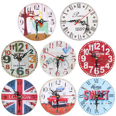 Lot Vintage Wooden Wall Clock Large Shabby Chic Rustic Kitchen Home Antique Gift