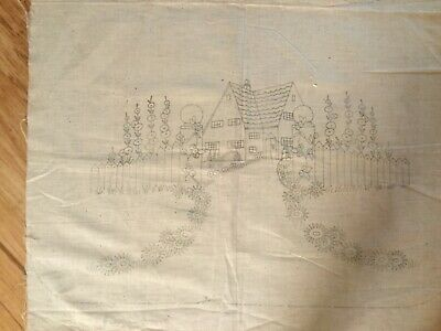 Vintage Apron to be embroidered - Cottage and garden