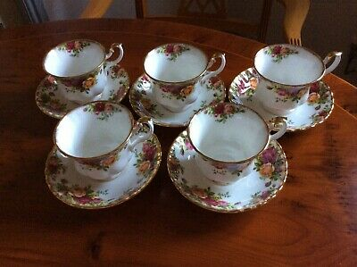 Royal Albert Old Country Roses 1962 ,  5 cups and saucers .