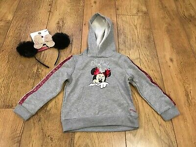 Girls Disney Minnie Mouse Hoodie & Ears Primark 2-3 3-4 Sequin Change Disneyland