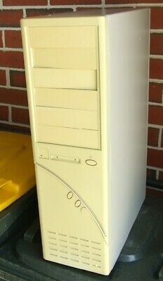Full tower vintage AT computer case R-600 from the 90s NOS but yellowed