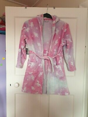 Lovely Girls Unicorn Housecoat, Pink, and grey age 8 -9years.