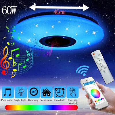 60W LED Bluetooth Luz de techo Lampara Regulable Orador Control remoto APP Music