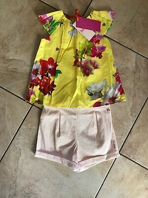 Bnwt Ted Baker Girls Top & Shorts Set Age 4-5 Years