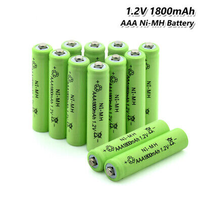 10x  AAA Rechargeable Batteries NiMH High Capacity 1800mAh - Value Pack