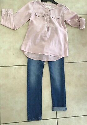 Lovely Trendy Pink Mango Top And Skinny Jeans 9/10 Vgc