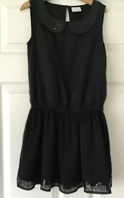 Lovely Girls Sequinned Black Next Dress Dropped Waist 9 Yrs Vgc