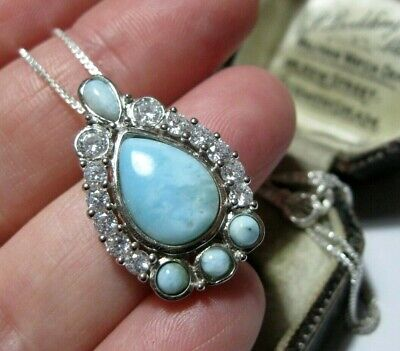New Vintage Style Art Deco Sterling SILVER Larimar & Topaz Pendant NECKLACE