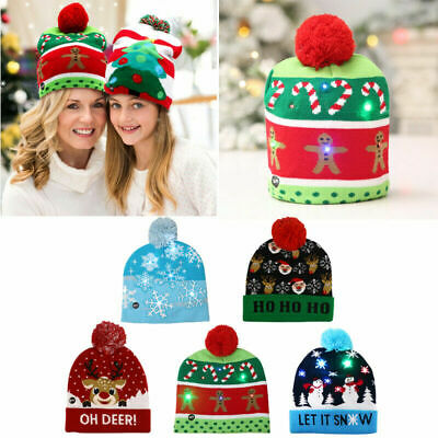 LED Light Up Christmas Party Beanie Christmas Santa Hat Knitted Hats Adult Kids