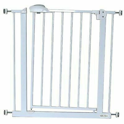 CUGGL Deluxe Stair Gate 90° Stop Open & Auto-close Stairgate - White 75-85 Cm