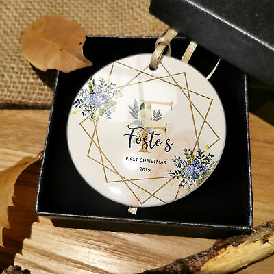 Personalised Baby Name Initials First Christmas Bauble Gold Decoration Plaque