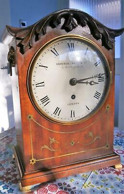 Mahogany Single Fusee Brass Inlaid Victorian Bracket Clock by Camerer Cuss & Co.