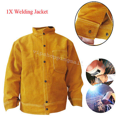 CE Cowhide Leather Welder WELDING JACKET Leather for Protective Flip-up Collar