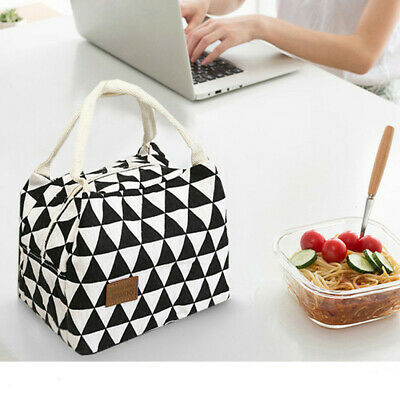 For Women Kids Insulated Canvas Box Tote Bag Thermal Cooler Food Lunch Bags