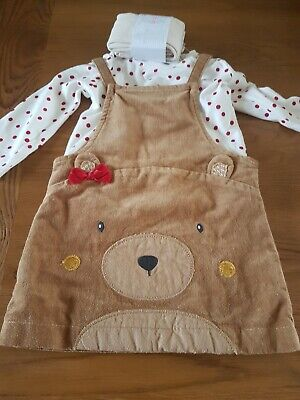 Next Baby Girls Outfit Bear Pinafore Top @ Tights Age 6-9  Months New