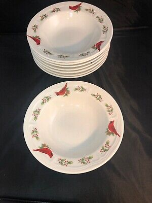 Gibson Designs Winter Birds 8 Salad Soup Cereal Bowls Cardinals Holly Christmas