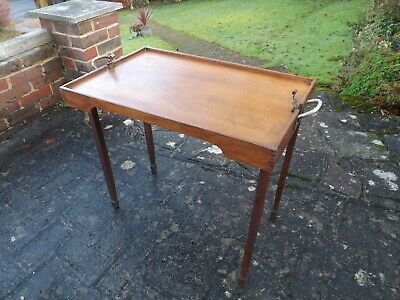 Antique Victorian Edwardian Folding Butlers Wood Tray
