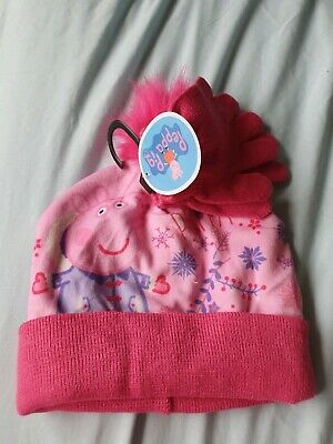 Peppa Pig Hat And Gloves Snowflake Pink Girls Winter One Size NEW