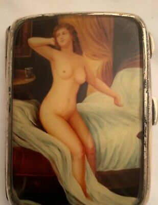 Antique pictorial enamel cigarette silver case| of a naked lady.