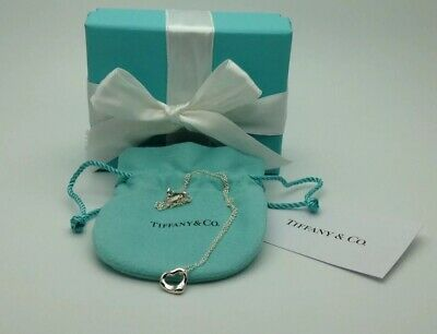 Tiffany & Co. Sterling Silver Elsa Peretti 11mm Open Heart Pendant Necklace