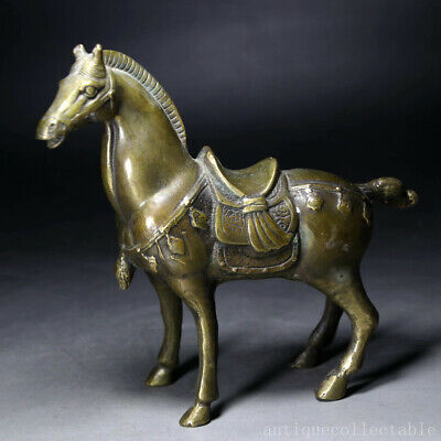 Collect China Old Bronze Hand-Carved Ancient War-Horse Precious Delicate Statue