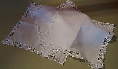 Set of Three Handkerchiefs Antique Dentelle and Lawn Antique French Hanky