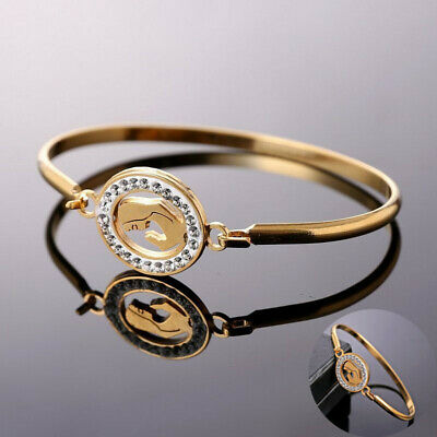 Jewelry Family Love Heart Women Stainless Gold Fashion Bracelet Steel Bangle