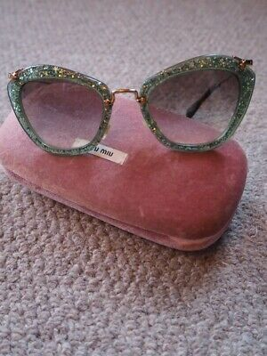 Miu Miu Green Glitter Noir Sunglasses In Case Great Conditon