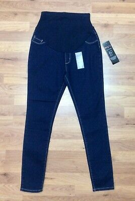 New George Maternity Skinny Jeans Ladies Size 10 Denim Blue Over Bump Cotton