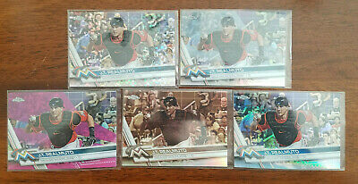 (5) 2017 Topps Chrome Pink Sepia X-Fractor Prism Refractors #191 J.T. Realmuto