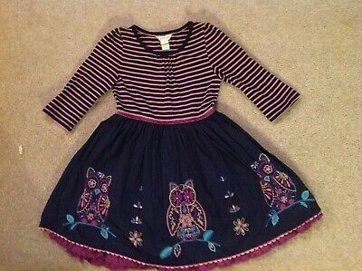Girls Monsoon Lined Striped Owl Dress Aged 5-6 Years