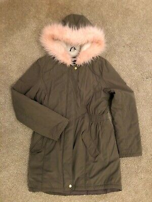 Girls green parka jacket coat age 13-14 pink fur hood Blue Zoo Debenhams