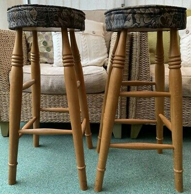 Pair Solid Oak Breakfast Bar Stools With Upholstered Cushioned Seats