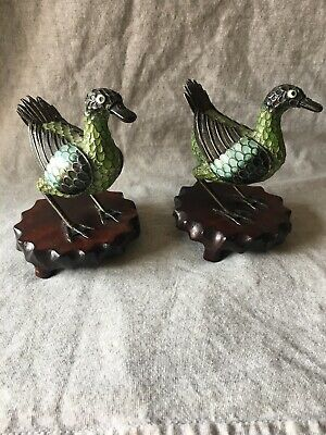 Antique Chinese Export Silver Filigree Enamel cloisonne  Duck Bird Figurine Pair