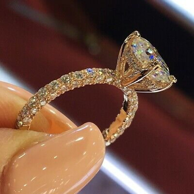 Sparkling Exquisite White Topaz Rose Gold Bridal Wedding Ring Jewelry Size 7
